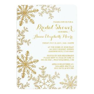 Gold Glitter Snowflakes Winter Bridal Shower Invitations