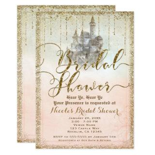 Gold Glitter Storybook Castle Bridal Shower Invitation
