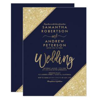Gold glitter stripes typography navy blue wedding invitation