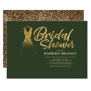 Gold Glitter Wedding Dress Green Bridal Shower Invitation
