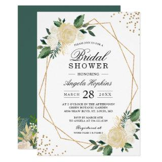 Gold Glitters Greenery Floral Bridal Shower Brunch Invitations