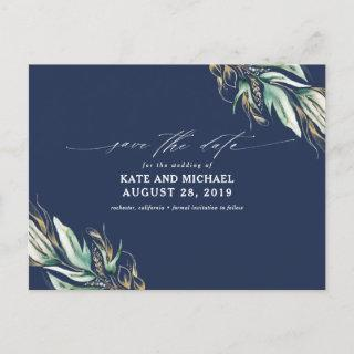 Gold Greenery Navy Blue Fall Save the Date Postcard