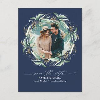 Gold Greenery Navy Blue Save the Date Photo Announcement Postcard