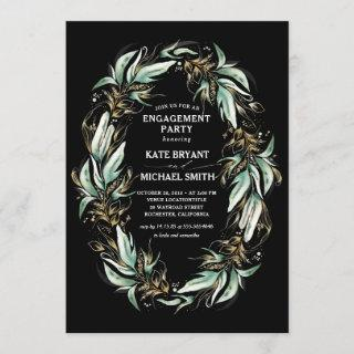 Gold Greenery Wreath Black Modern Engagement Party Invitations