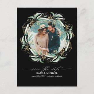 Gold Greenery Wreath Black Save the Date Photo Announcement Postcard