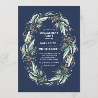 Gold Greenery Wreath Navy Blue Engagement Party Invitations