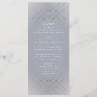 Gold Grey Elegance Diamond Geo Deco Wedding Menu