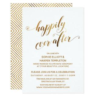 Gold Happily Ever After Post Wedding Celebration Invitations