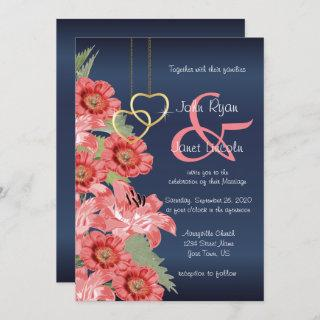 Gold Heart and Coral Flowers Wedding Invitations