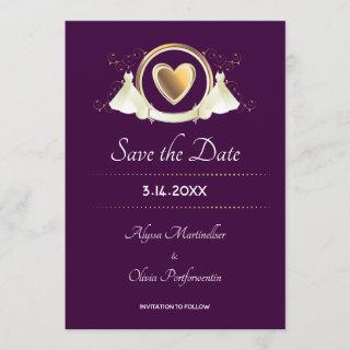 Gold Heart Female Wedding   Save the Date