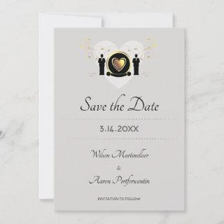 Gold Heart Grooms LGBTQ  Save The Date