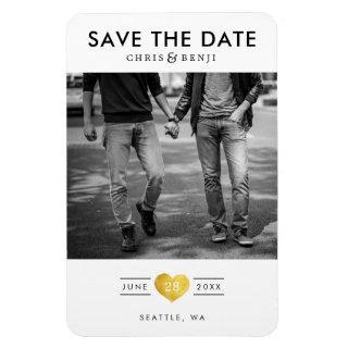 Gold Heart LGBTQ Save the Date with Photo Magnet