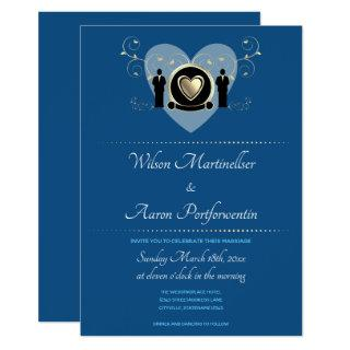 Gold Heart Male Wedding Classic Blue Invitations