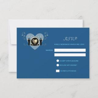 Gold Heart Male Wedding Classic Blue | RSVP card