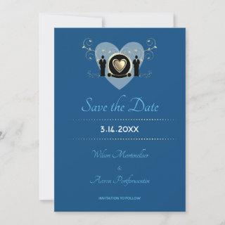 Gold Heart Male Wedding Classic Blue Save The Date