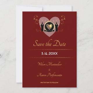 Gold Heart Male Wedding Classic Burgundy Save The Date
