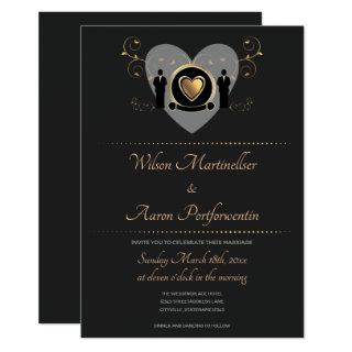 Gold Heart Male Wedding | Invitations