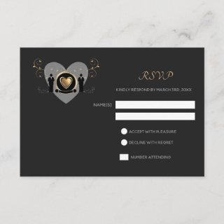 Gold Heart Male Wedding | RSVP card