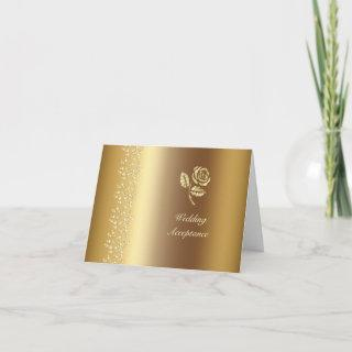 Gold Hearts and Rose Wedding RSVP Invitations