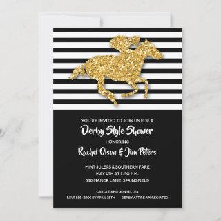 Gold Horse and Stripes Derby Shower Invitations