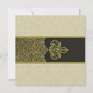 Gold Indian Floral Ornament Wedding Invitations