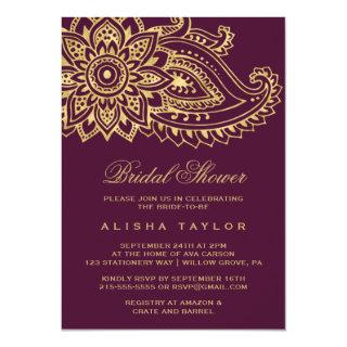 Gold Indian Paisley Bridal Shower Invitations