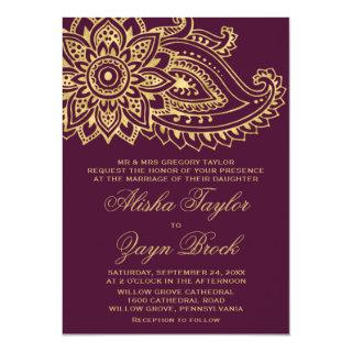 Gold Indian Paisley Formal Wedding Invitations