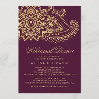 Gold Indian Paisley Rehearsal Dinner Invitations