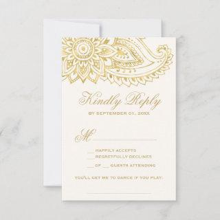 Gold Indian Paisley Song Request RSVP Card