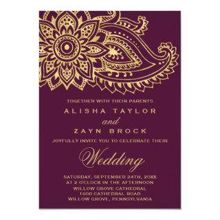 Gold Indian Paisley Wedding Invitations