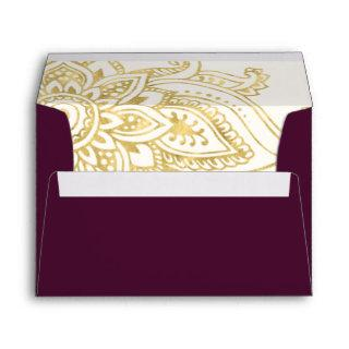 Gold Indian Paisley Wedding Invitations Envelope