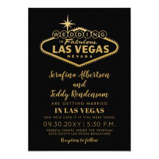 Gold Las Vegas Fabulous Destination Wedding Invitations
