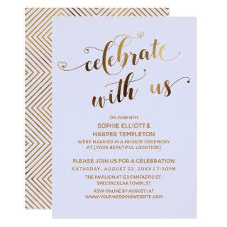 Gold Lavender Celebrate with Us Post-Wedding Party Invitations