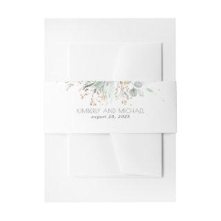 Gold Leaves and Eucalyptus Greenery Wedding Invitation Belly Band