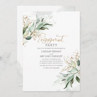 Gold Leaves Greenery Elegant Engagement Party