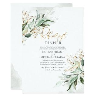 Gold Leaves Greenery Elegant Rehearsal Dinner Invitations