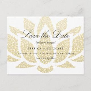 Gold Lotus Flower Wedding Save the Date Custom Announcement Postcard