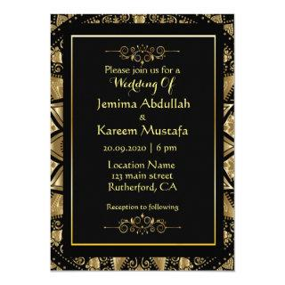 Gold Mandala In Black Background Wedding Invitation