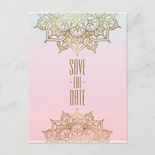 Gold Mandala Pink Peach Elegant Chic Save the Date Announcement Postcard