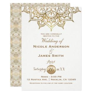 Gold Mandala White Modern Elegant Minimal Wedding Invitations