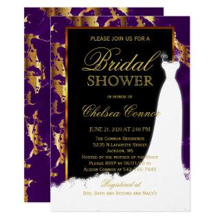 Gold Marble, Black and Purple Bridal Invitation