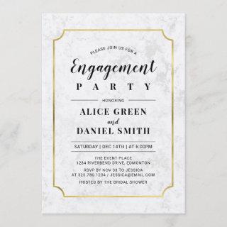 Gold & Marble | Classic Wedding Engagement Party Invitation