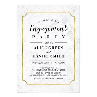 Gold & Marble | Classic Wedding Engagement Party Invitations