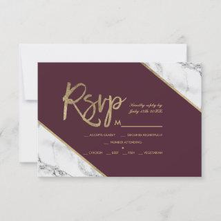 gold marble script burgundy rsvp wedding