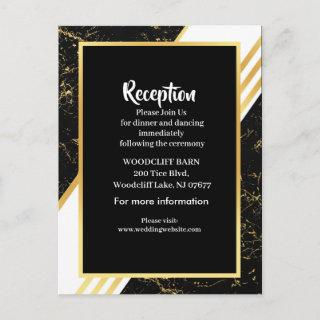 Gold marble stripes typography black announcement postcard
