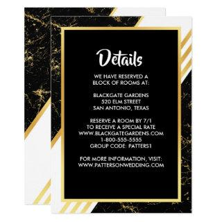 Gold marble stripes typography black Enclosure Invitation