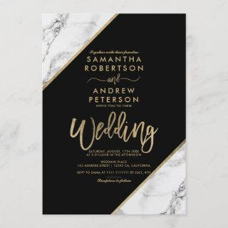 Gold marble stripes typography black wedding Invitations
