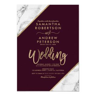 Gold marble stripes typography burgundy wedding invitation