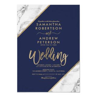 Gold marble stripes typography navy blue wedding Invitations