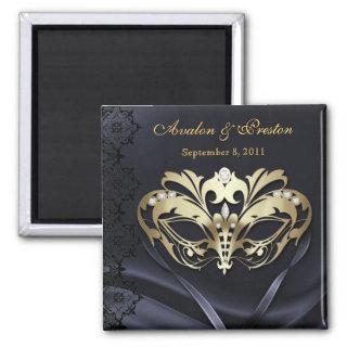 Gold Masquerade Black Save The Date Magnet